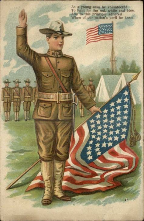 soldier holding american flag c1910 postcards from our