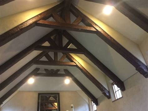 vaulted ceiling trusses cathedral ceiling faux wood workshop