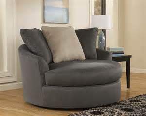 Furniture mindy indigo oversized round swivel chair accent chair
