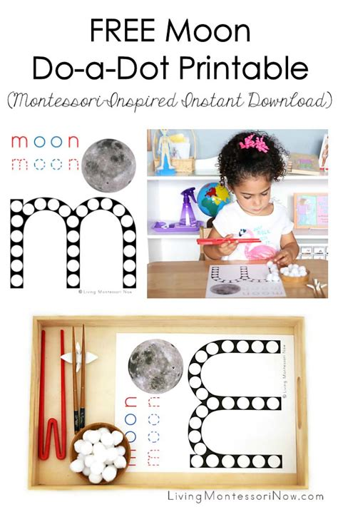 free montessori printable downloads free moon do a dot printable montessori inspired instant