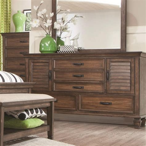 louvered bedroom furniture coaster franco 5 drawer dresser with 2 louvered doors