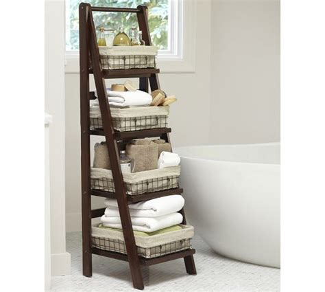 bathroom decorating with old ladder pottery barn bathroom floor ladder visit potterybarn com
