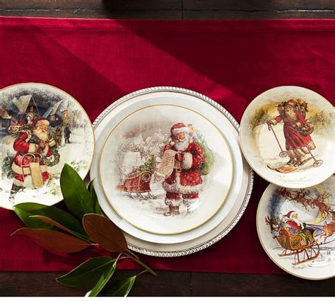 5 Piece Dining Room Sets nostalgic santa 16 piece dinnerware set pottery barn