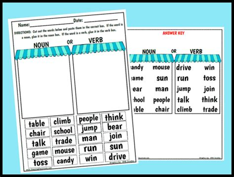 Noun And Verb Worksheet by Printable Worksheets Activity Pages For Teachers With