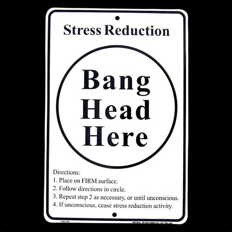 stress relief stress relief tin sign here