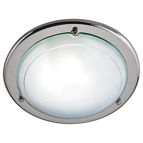 flush fit chrome ceiling light with frosted and clear