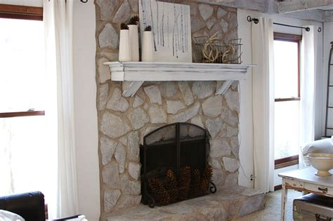 Stones Fireplace by Erin S And Gardens Painted Fireplace Before And After