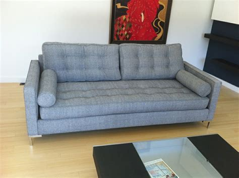 couch etsy mid century florence knoll style button tufted 3 seat sofa