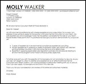 environmental consultant cover letter sample livecareer