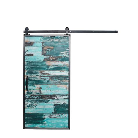 Barn Sliding Door Hardware Kit Rustica Hardware 42 In X 84 In Mountain Modern Aqua Wood Barn Door With Mountain Modern