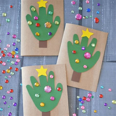 christmas art projects in austrailia diy handprint tree cards blitsy