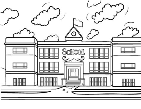 coloring page school building printable school house coloring page free pdf download at