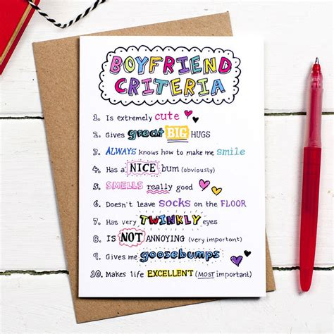 cards for boyfriend boyfriend criteria card by eskimo designs