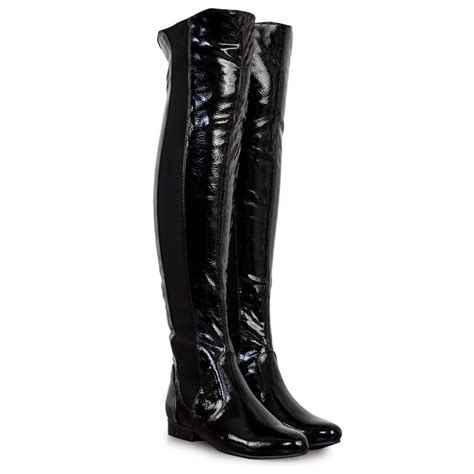 black patent leather the knee boots