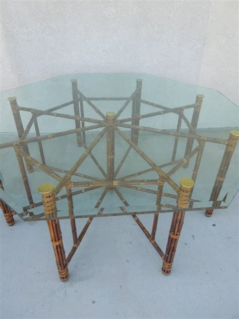 large 8 leg vintage mcguire hexagon dining table at