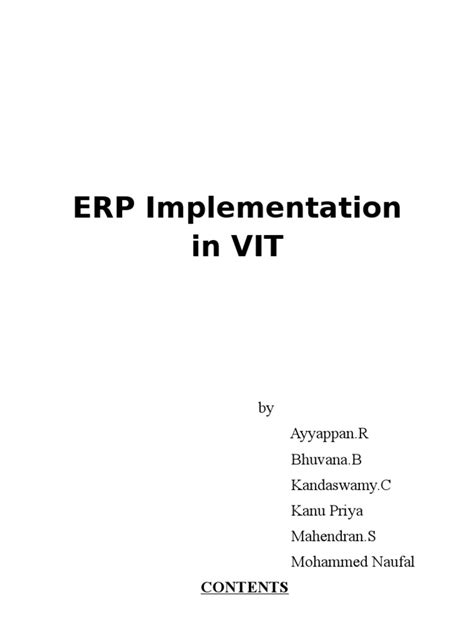 Mba Project Report On Erp Implementation Pdf by Successful Erp Implementation Study Pdf