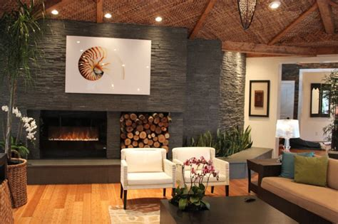 Where To Place Tv In Living Room With Fireplace by Contemporary Natural Stone Fireplace Modern Living
