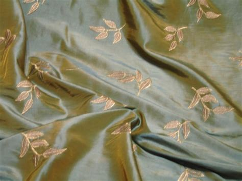 silk curtain fabric online embroidered duck egg leaf silk curtain dress taffeta