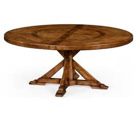 72 quot country style walnut round dining table inbuilt lazy