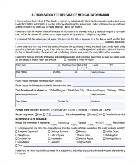 16 General Release Of Information Form Templates Release Of Information Form Template