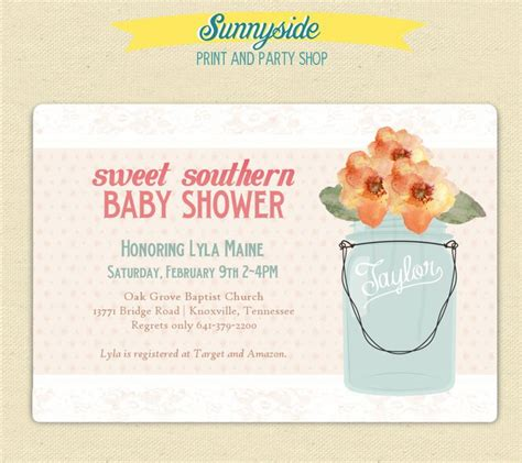 Jar Baby Shower Invitations by Sweet Southern Baby Shower Fashioned Invites