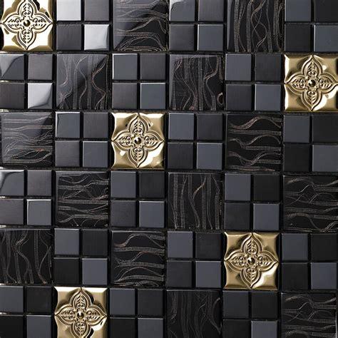 metal wall tiles kitchen backsplash black gold glass metal flower kitchen backsplash bathroom wall tiles mosaic ebay