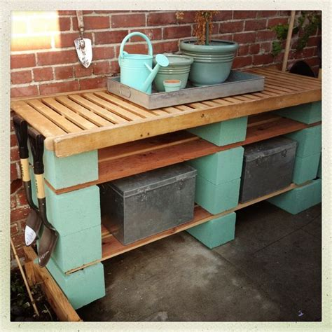 concrete block bench garden potting bench concrete blocks planks total cost 20 recycled outdoor