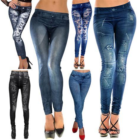 Blesakura Ripped Legging Detail Di Pic Import faux denim look stretchy pencil jeggings tight ebay