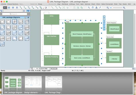 layout software packages uml package diagram design elements
