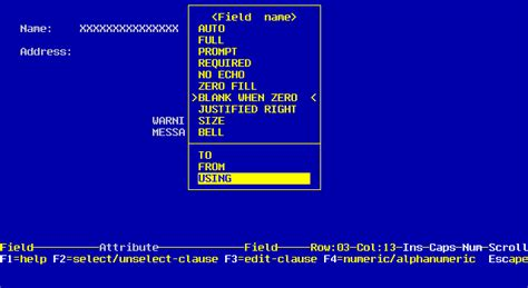 Section In Cobol by Using Screens