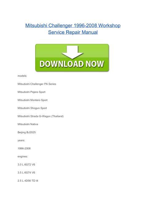 download car manuals pdf free 2004 mitsubishi challenger instrument cluster mitsubishi challenger 1996 2008 workshop service repair manual