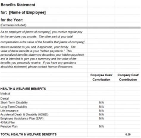 Employee Benefits Statement Template My Excel Templates Sle Employee Benefit Statement Templates