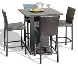 High Bar Table Set Venus 5 Wicker Outdoor Pub Table Set With Bar Stools Contemporary Outdoor Pub And