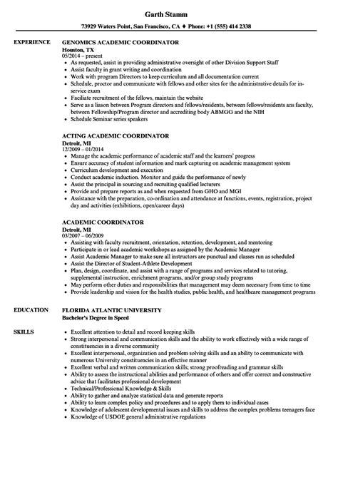 Academic Resume by Academic Coordinator Resume Sles Velvet
