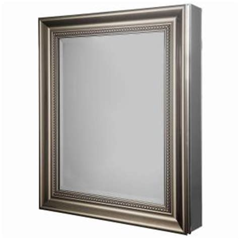 brushed nickel recessed medicine cabinet glacier bay 24 in w x 29 1 8 in h framed recessed or
