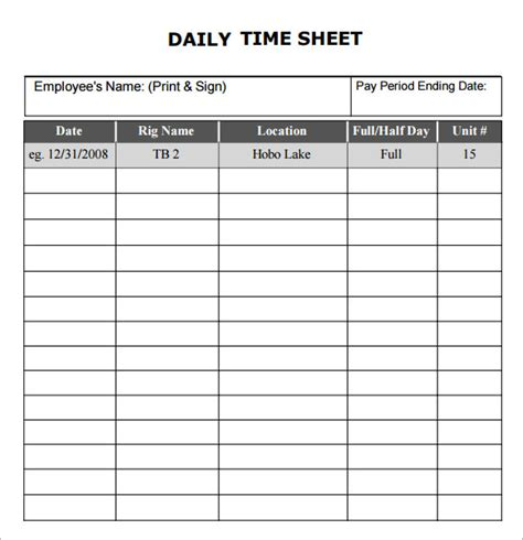 Daily Time Card Template by Daily Timesheet Template 10 Free For Pdf Excel
