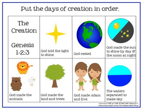 themes in the creation story creation bible story for preschoolers activity pack mary