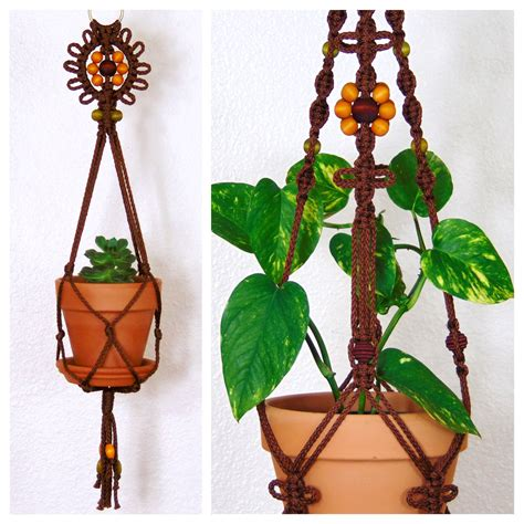 Hanging Macrame Planter - hanging macrame planter indoor macrame plant holder brown