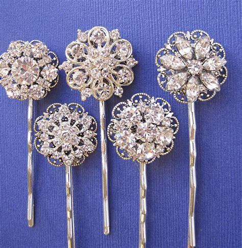 Wedding Hair With Pin by Wedding Accessories Hair Pins 5 Hair Pins Rhinestone