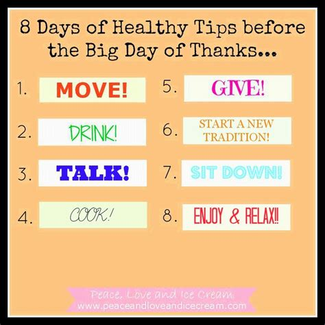 tips for day peace and 8 days of healthy tips before
