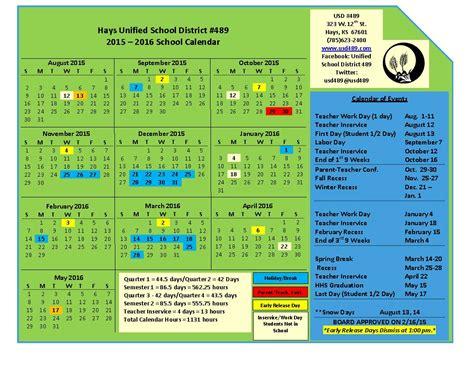 School District Calendar 2016 Usd 489 Hays Kansas 2015 2016 School Calendar