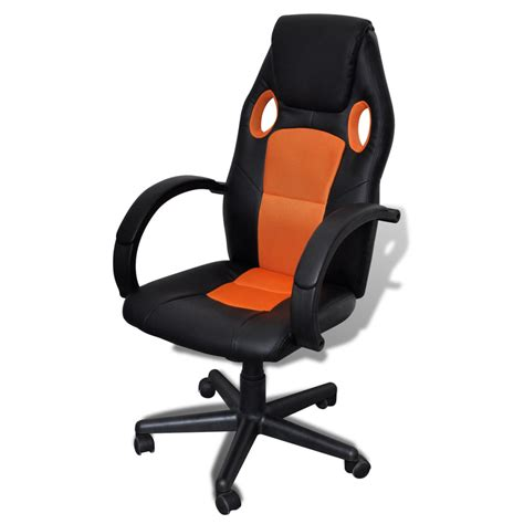 Orange Leather Desk Chair by Artificial Leather Office Chair Height Adjustable Swivel