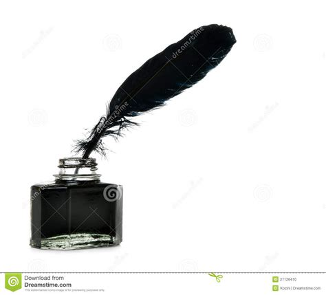 And Ink feather and ink bottle isolated stock photo image of