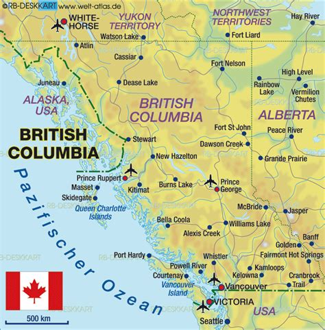 bc canada map map of columbia canada map in the atlas of the