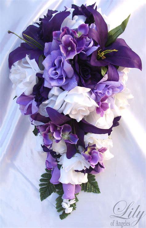 Home Decor Silk Flower Arrangements by 17pcs Wedding Cascade Bridal Bouquet Silk Flower Teardrop