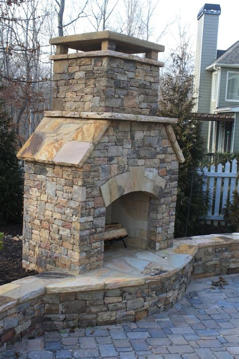 outdoor stone fireplace outdoor stacked stone fireplace with hearth and seating wall fireplace pinterest