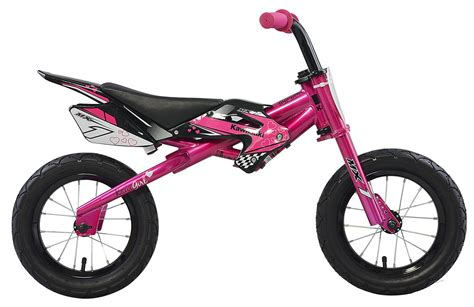 motocross push bike kawasaki mx1 pink balance running bike