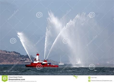 fire boat display fireboat pumping display stock photos image 11577163