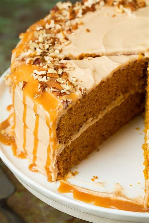 browned butter pumpkin cake with salted caramel frosting cooking classy