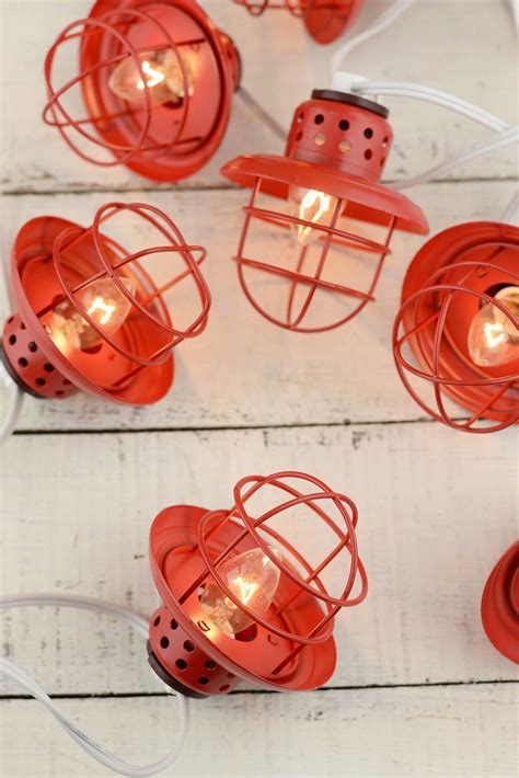 Nautical Cage String Lights Red 10ct Metal Lantern String Lights